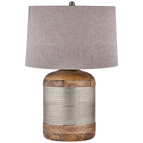 Lauren Mango Wood and German Silver Drum Table Lamp