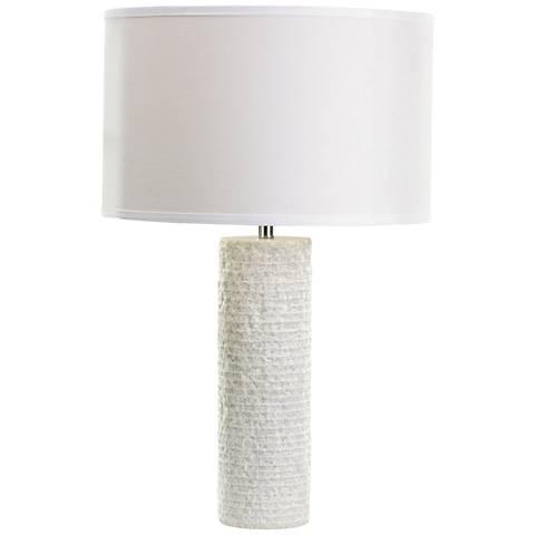 Rialto Rough Round White Marble Drum Table Lamp