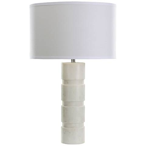 Vickery Stacked White Marble Table Lamp