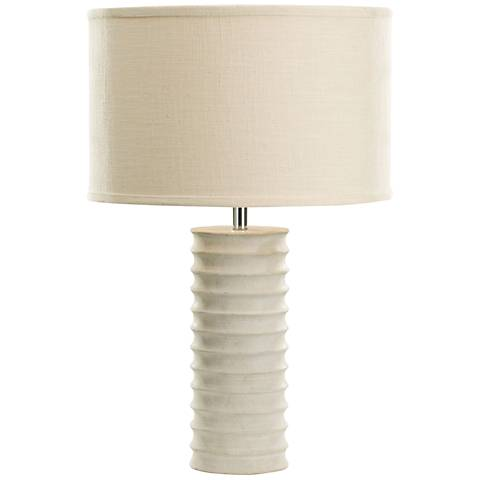 Mint Sand Stone Round Ribbed Table Lamp