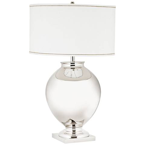 Cleo Brass Globe Polished Nickel Table Lamp