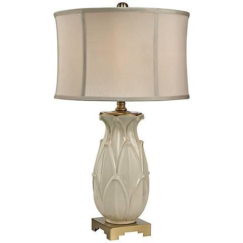 Leaf Glaze Crackle Cream and Brass Ceramic Table Lamp