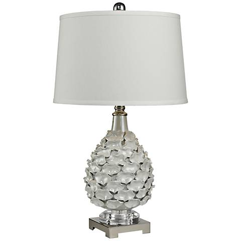 Cass Hand Formed White Pearlescent Glaze Ceramic Table Lamp