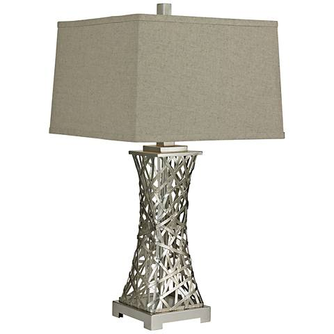 Hariston Woven Metal Thread Silver Leaf Table Lamp