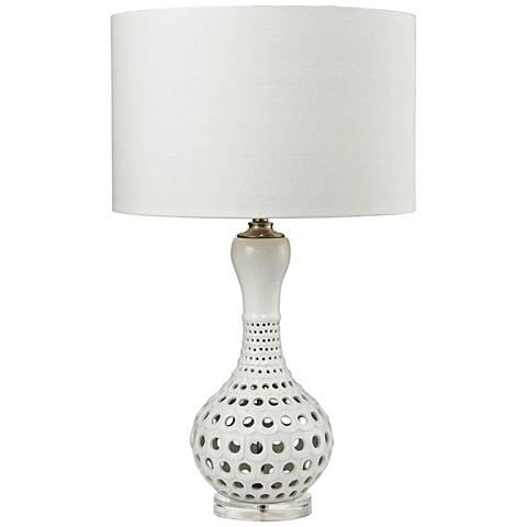 Ella Open Work Gloss White Ceramic Table Lamp