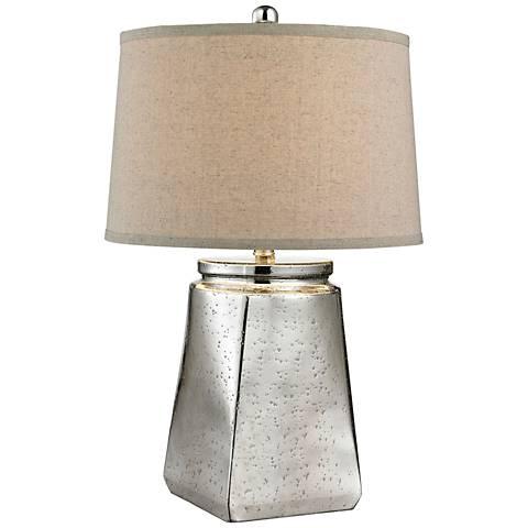 Riya Tapered Square Silver Mercury Glass Table Lamp