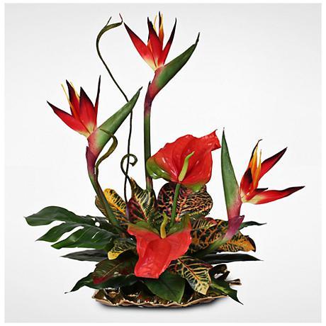 "Bird of Paradise 26""H Faux Tropical Arrangement on Plate"