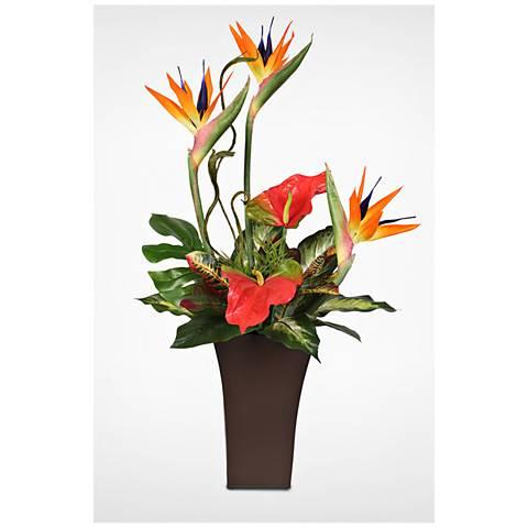 "Bird of Paradise 36""H Faux Floral Arrangement in Tin"