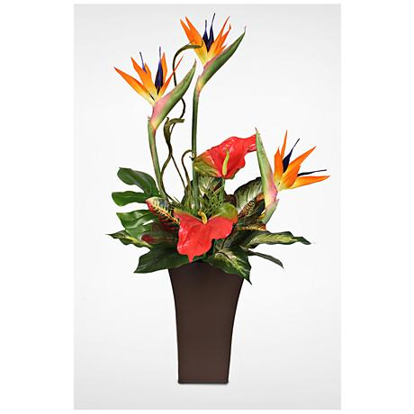 "Bird of Paradise 36""H Faux Floral Arrangement in Tin"