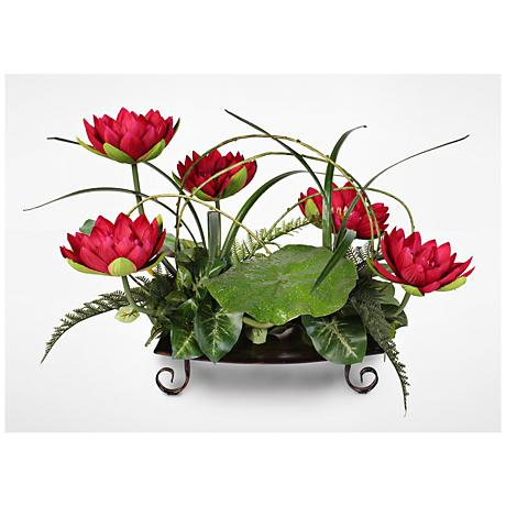 "Water Lily 25""W Faux Floral Arrangement on Metal Tray"