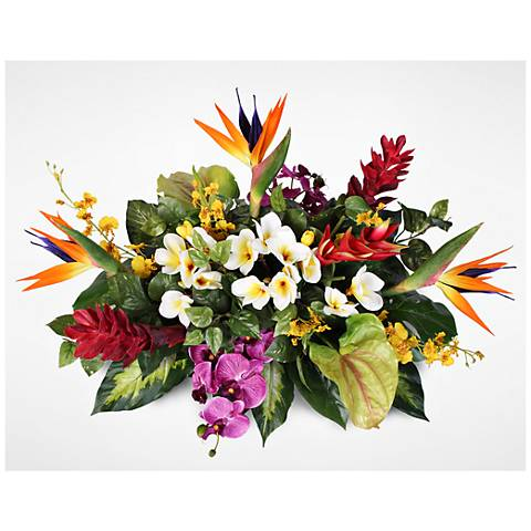 "Orchids and Birds of Paradise 28""W Tropical Arrangement"