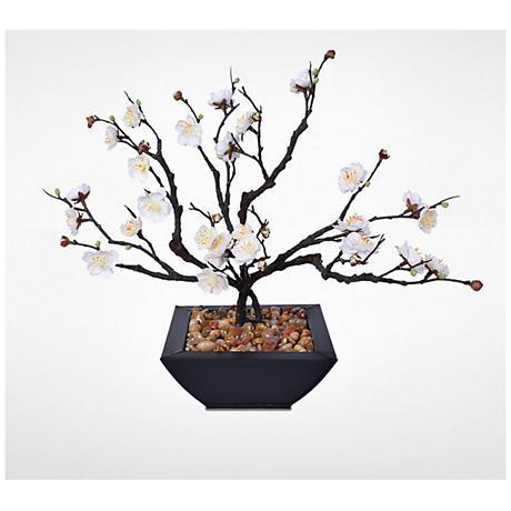 """White Plum Blossom Bonsai 15""""W Faux Arrangement in Pot"""