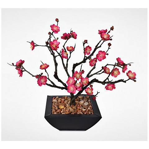 """Pink Plum Blossom Bonsai 15""""W Faux Arrangement in Pot"""