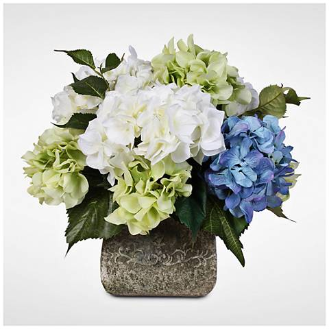 "Blue, Green and White Hydrangea 18""H Faux Bouquet in Pot"