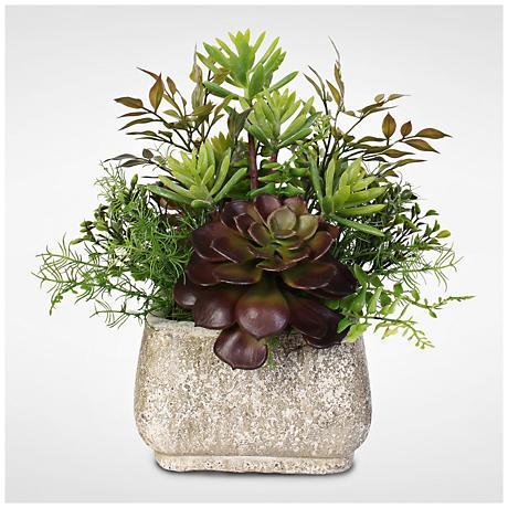 "Green and Red Succulent 13""H Faux Arrangement in Pot"