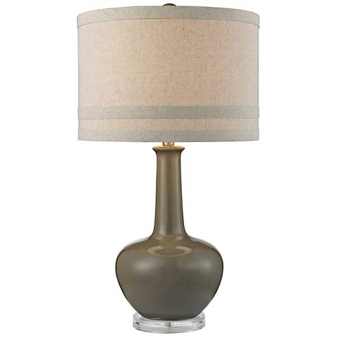 Greta Smooth Gray Ceramic and Acrylic Table Lamp