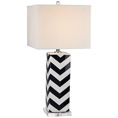 Kai Chevron Gloss White and Navy Glaze Ceramic Table Lamp