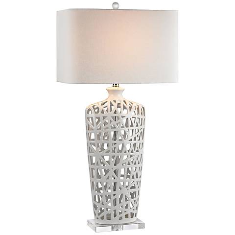 Modern Nest High Gloss White Ceramic Table Lamp