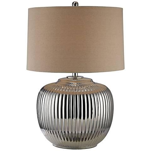 Manati Ribbed Silver Ceramic Table Lamp