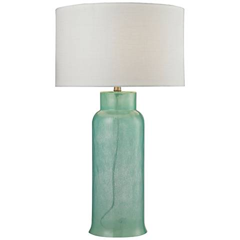 Amy Glass Bottle Hot Sprayed Opaque Seafoam Green Table Lamp