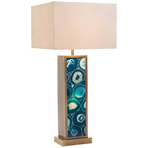 John Richard Ocean Blue Agate Table Lamp with Night Light