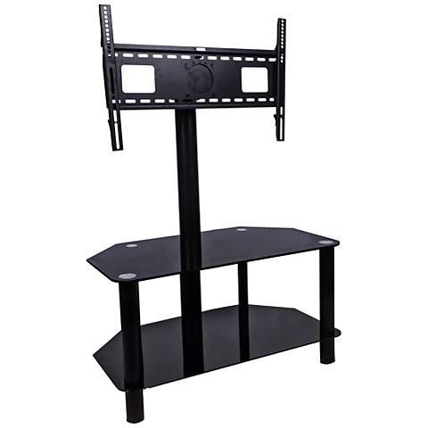 Sahara Black Raised-Mount 2-Shelf Flat Panel TV Stand