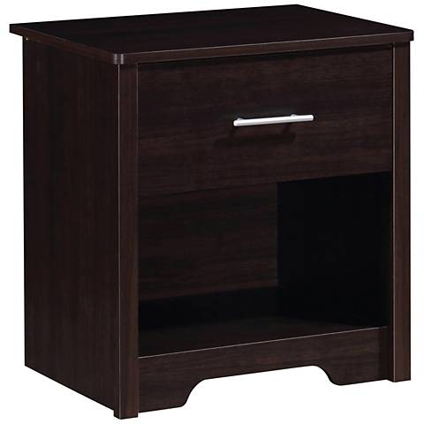 Mondale Espresso Woodgrain 1-Drawer Nightstand