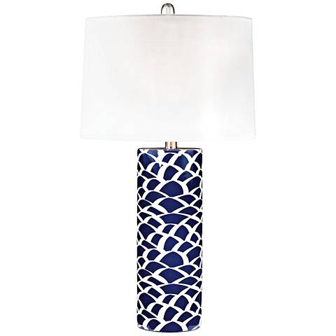 Scale Sketch Navy Blue and White Ceramic Table Lamp