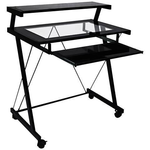 Demaryius Black 3-Shelf Workstation Portable Desk