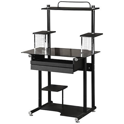 Christopher Deluxe Black 7-Shelf Computer Cart Desk