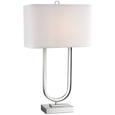 Modern Triumphal Polished Nickel Metal Table Lamp