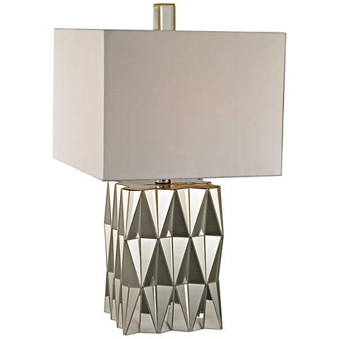 Hearst Clear Mirror and Chrome Glass Table Lamp