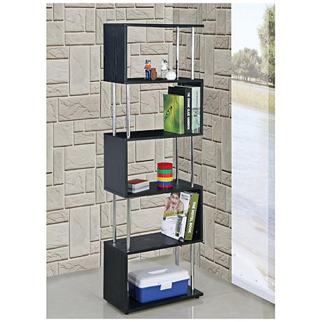 Snake Black Wood and Chrome 5-Shelf Bookcase