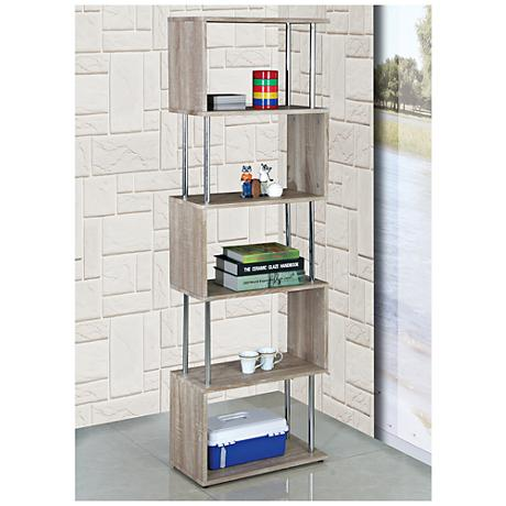Snake Beech Wood and Chrome 5-Shelf Bookcase