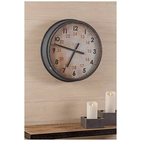 """Cooper Classics Industrial Aged Gray 22"""" Round Wall Clock"""