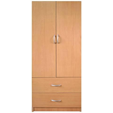 Deandra Maple 2-Door 2-Drawer Modern Wardrobe