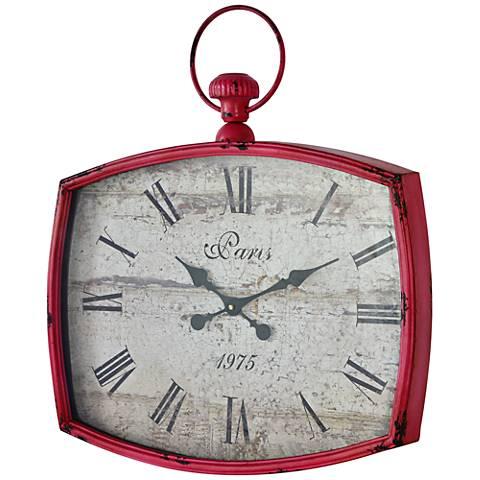 "Cooper Classics Emmeline Distressed Pink 26""H Wall Clock"