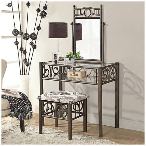 Glenda Silvertone 3-Piece Vanity Set with Seat and Mirror