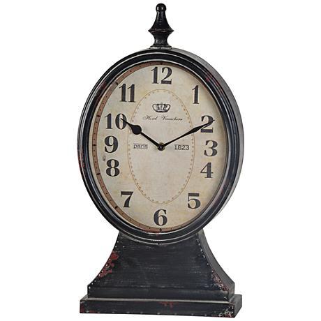 "Cooper Classics Leona 16 1/2""H Distressed Black Table Clock"