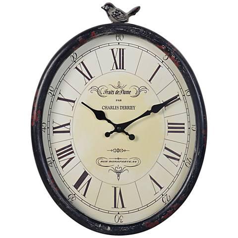 """Cooper Classics Bolton 19 3/4""""H Distressed Black Clock"""