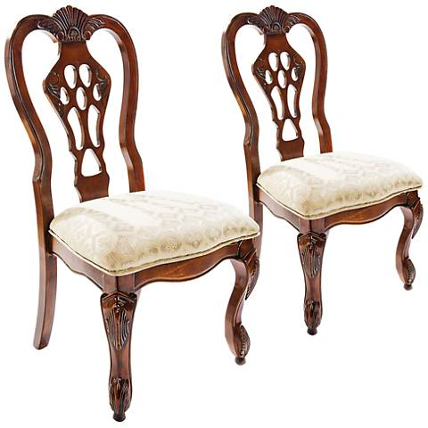 Minerva Brown Cherry Scalloped Traditional Side Chair