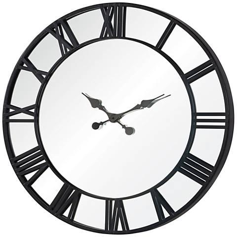 """Cooper Classics Rafferty Black 32""""W Mirrored Wall Clock"""