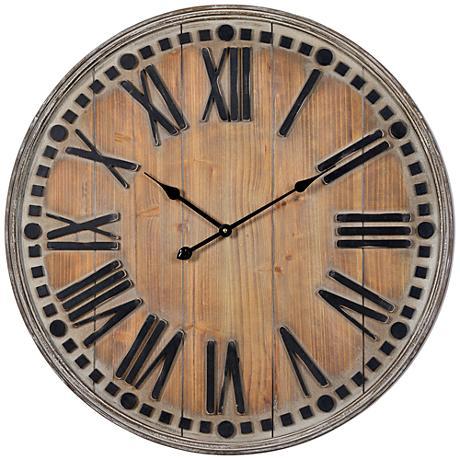 """Cooper Classics Linden Natural Wooden 31 1/2"""" Round Clock"""