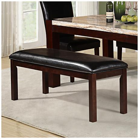 Spiro Black Faux Leather Padded Wood Dining Bench 9V648 Lamps Plus