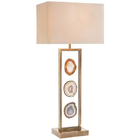John Richard Floating 3-Agate Antique Brass Table Lamp