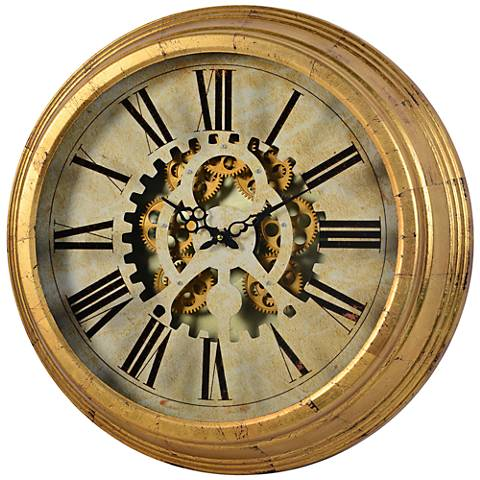 "Dabney Antique Gold Moving Gear 22 ¾"" Round Clock"
