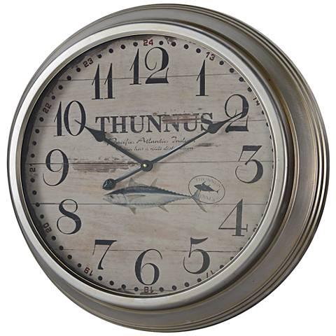 "Cooper Classics Yates Silver 26 1/4"" Round Wall Clock"