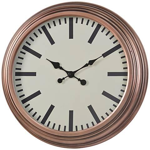 """Cooper Classics Swanson Copper 22 3/4"""" Round Wall Clock"""