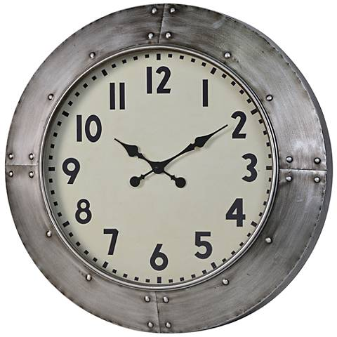 "Cooper Classics Garrison Gray 28"" Round Wall Clock"