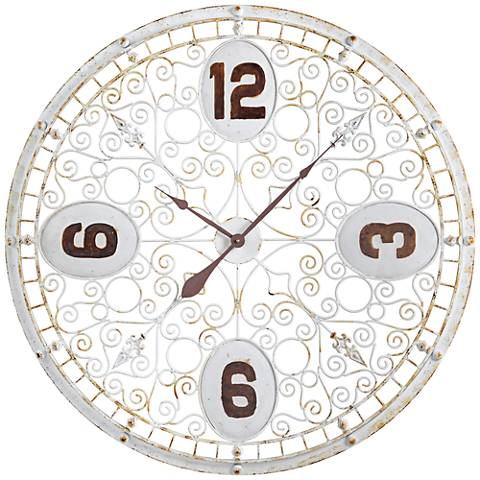 "Cooper Classics Wren Distressed White 36 1/2"" Round Clock"